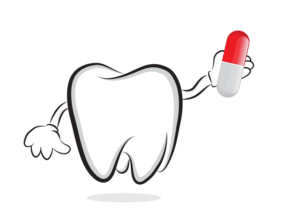Tooth with pill. Medication and dental treatment concept